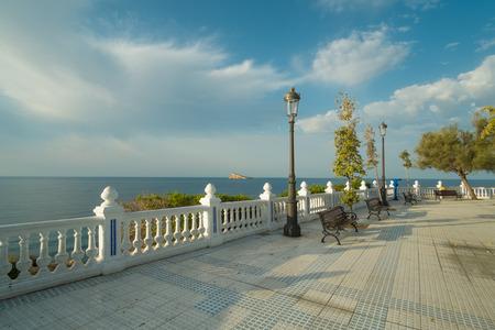 Scenic park and viewpoint on the Mediterranean in  Benidorm beach resort, Costa Blanca, Spain.