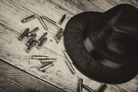 fedora: Fedora hat and bullets, a film noir concept