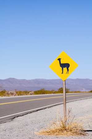 roadsign: Roadsign in the Argentinian Andes warning of  crossing lamas