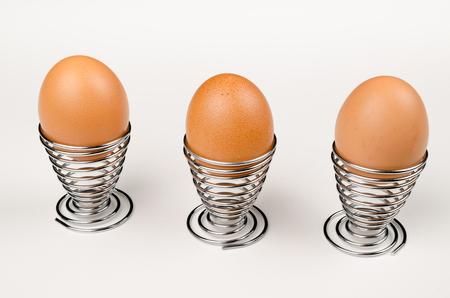 egg cups: Hardboiled eggs in fancy egg cups