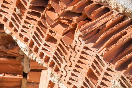 Cross section of a broken brick Stock Photo