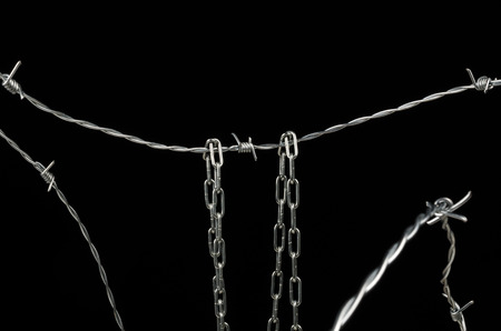 Barbed wire and chain, a human rights and immigration concept