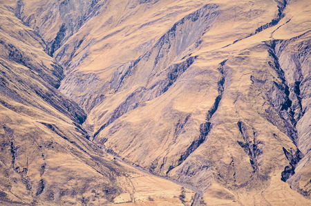 grooves: Large erosion grooves on an Andean mountain slope Stock Photo