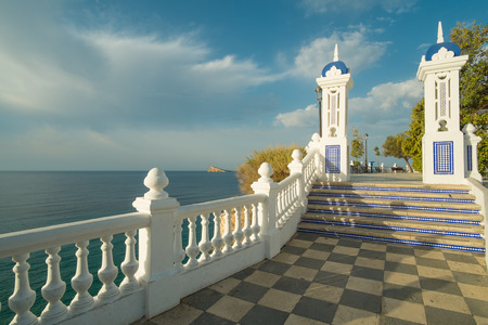 bannister: Scenic park and viewpoint on the Mediterranean in  Benidorm beach resort, Costa Blanca, Spain.