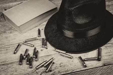 genre: A conceptual still life standing for  the crime and mystery novel genre