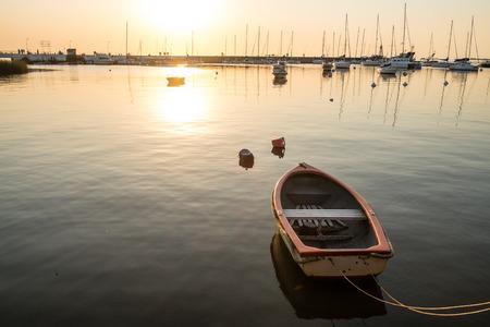 colonia del sacramento: Small recreational boat moored in Colonia del Sacramento marina, Uruguay