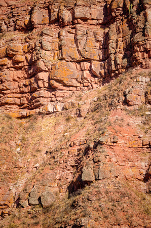 geological feature: Full frame take of a layered rock face Stock Photo