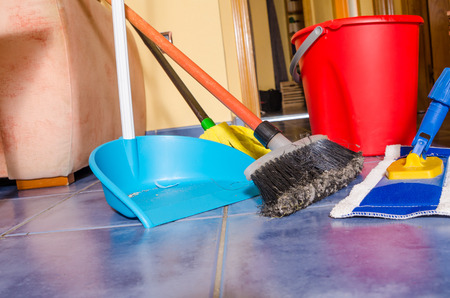 cleanup: All sorts of cleaning equipment during the weekly domestic cleanup