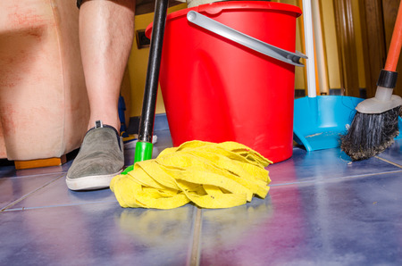 sorts: All sorts of cleaning equipment during the weekly domestic cleanup