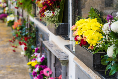tumbas: Tombs  with colorful flower decoration