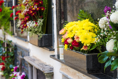 Tombs  with colorful flower decoration