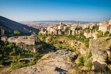 castilla la mancha: View over Cuenca old town sitting on top of rocky hills, Castilla La Mancha, Spain