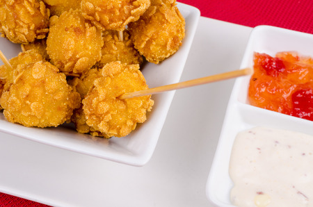 andalusian cuisine: Chicken croquette tapa served with a choice of dips