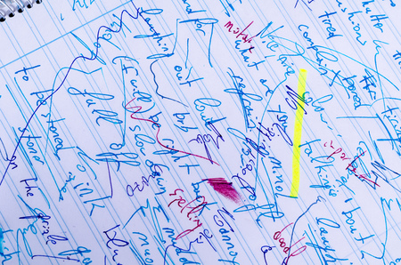 Handwritten scribbling in different fountain ink colours and line variations on a notebook page Stock Photo
