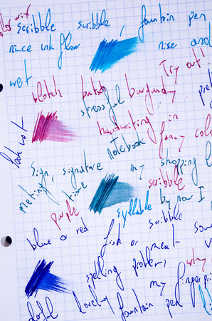 scribbling: Handwritten scribbling in different fountain ink colours and line variations on a notebook page Stock Photo