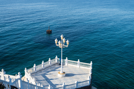 bannister: Landmark viewpoint to the Mediterranean in Benidorm old town, Costa Blanca, Alicante, Spain Stock Photo