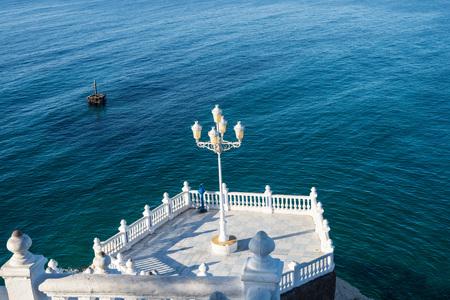 Landmark viewpoint to the Mediterranean in Benidorm old town, Costa Blanca, Alicante, Spain Stock Photo