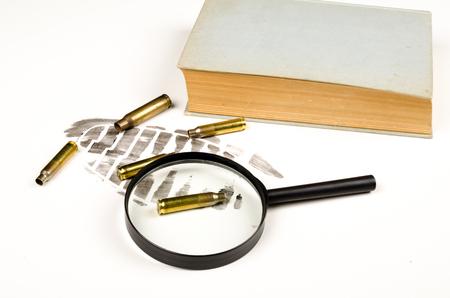 Crime scene and book, a literary concept.