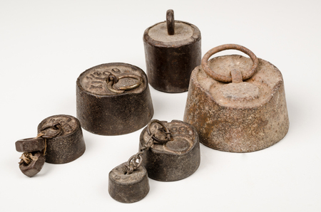 Set of vintage scale weights in different sizes