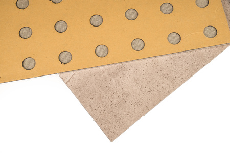 floor covering: Closeup take of adhesive vinyl tiles, a modern construction material Stock Photo