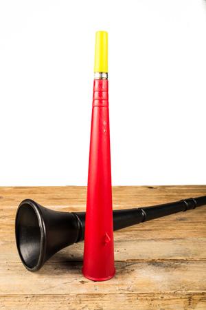 Noisy soccer fan equipment vuvuzela Stock Photo