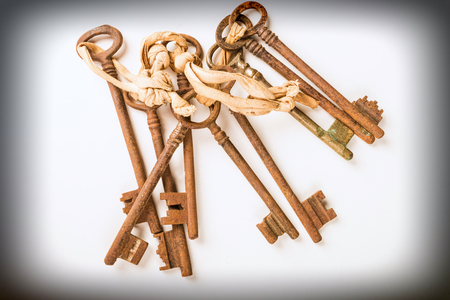 Bunch of vintage oxidized keys with a strong patina Stock Photo