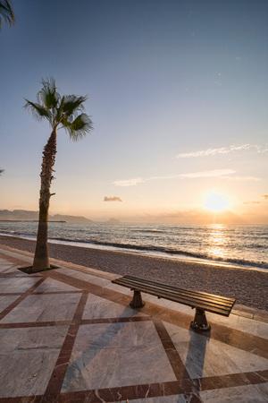 Sunrise on idyllic Altea resort bay, Costa Blanca, Alicante, Spain Stock Photo