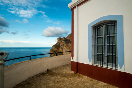 Sierra Helada lighthouse overlooking Altea bay, Costa Blanca, Spain  Stock Photo