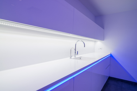 Modern kitchen with sophisticated LED lighting
