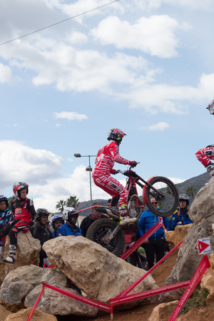 LA NUCIA, SPAIN - FEBRUARY 11th 2018: Albert Cabestany on a Beta bike jumps over an obstacle at the Spanish National Trial Championship.
