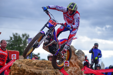 LA NUCIA, SPAIN - FEBRUARY 11th 2018: Albert Cabestany on a Beta bike jumps over an obstacle at the Spanish National Trial Championship. 報道画像