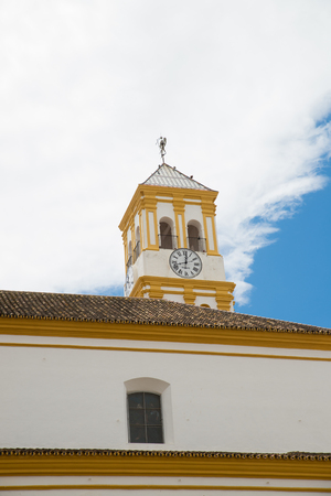 Andalusian style church tower in old town Marbella, Malaga, Spain