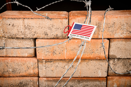 The wall, a conceptual shot about restrictive immigration policies and increasing xenophobia Stock Photo