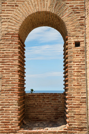 Old adobe arch at Salobrena castle, Malaga, Andalusia, Spain