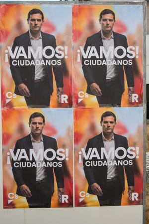 VALENCIA; SPAIN- April 11; 2019: Political campaign poster depicting  conservative presidential candidate Albert Rivera Editöryel