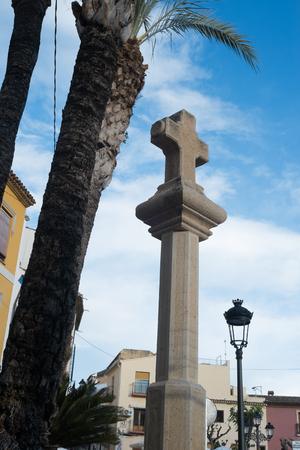 Large stone cross on a column Reklamní fotografie - 121841317