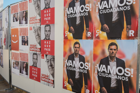VALENCIA; SPAIN- April 11; 2019: Political campaign poster depicting several presidential candidates running for Spanish April elctions Editöryel