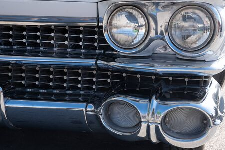 Headlight of a classic car.