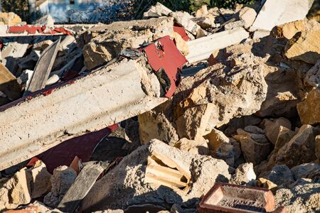 Demolition site rubble in a full frame take
