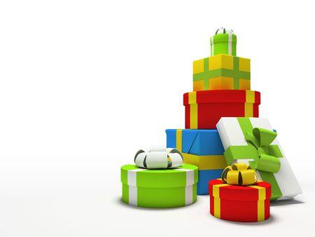 Farbe Geschenkk�sten lokalisiert auf wei�em Hintergrund