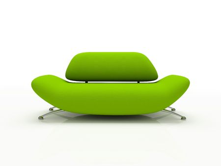 Green sofa on white background  insulated 3d