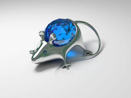 briliance: Jewelry decoration mouse with diamond Stock Photo