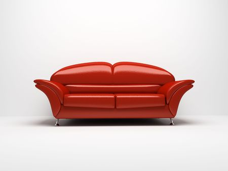 red sofa: Red sofa isolated on white background Stock Photo