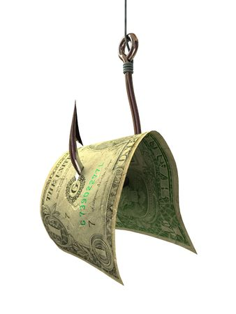 Money on a Hook - Concepts and Symbols 3D photo