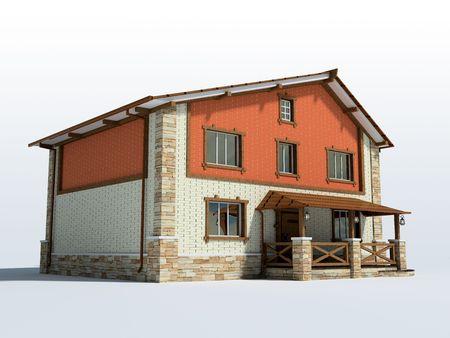 Brick house isolated on white background 3D photo