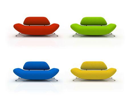 Vier bunte Sofas isoliert auf wei�em Hintergrund  Lizenzfreie Bilder