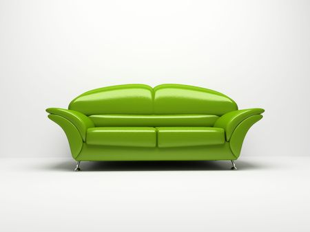 Green sofa isolated on white background 3d