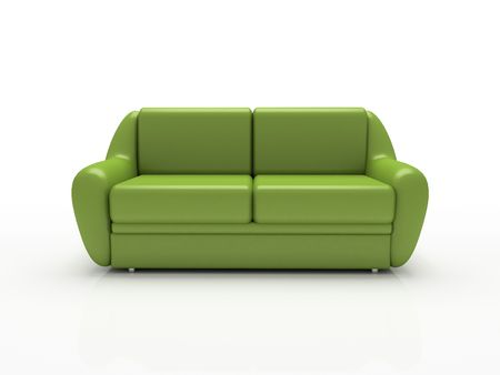 insulated: Green sofa on white background  insulated 3d