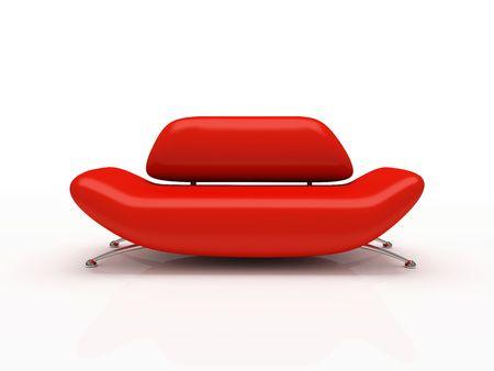 Rotes Sofa auf wei�em Hintergrund