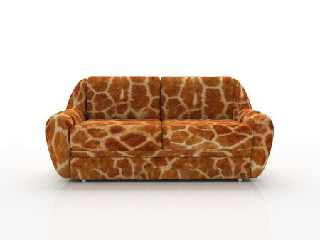 Spotted sofa with imitation under skin of the giraffe Stock Photo